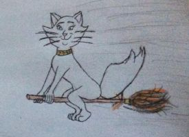 Duchess rides on a flying broomstick by Ryansmither1
