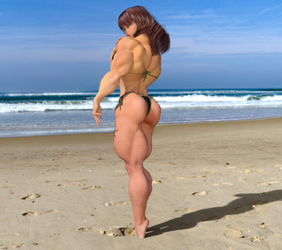 Candi on the Beach, Back Pose 2 by kittyelfie