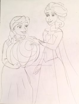 Happy Halloween from Anna and Elsa! Sketch by CaptainMockingjay