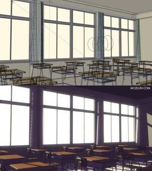 Japanese High school Classroom by mclelun