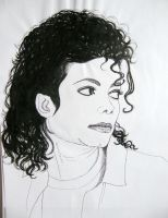 Michael Jackson portrait - ink drawing by gosia-jasklowska