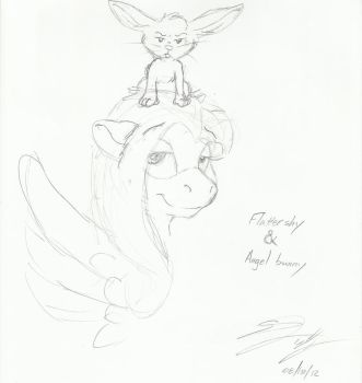 MLP Fluttershy and Angelbunny in my style by kliefox