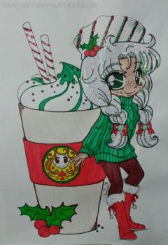 Mint Mocha Holiday chibi by ChibiHugs