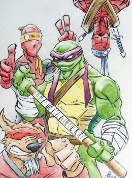 Donatello with Impostor Turtles by justinprime
