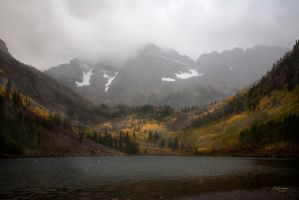 Maroon Bells Snow storm by DGAnder