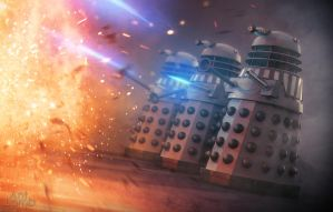 Renegade Daleks blasting at something by AntLamb
