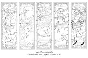 Sailor Moon Bookmark Set -linework by AHussein