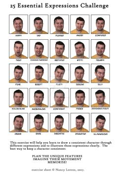 25 Expressions - Male, March 2017 by Zarahemna