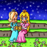 peach and rosalina reading a book by ninpeachlover