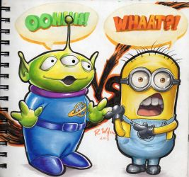 Little Green Man vs. Minion by rkw0021