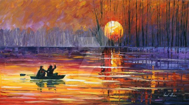 Sunset Fishing by Leonid Afremov by Leonidafremov
