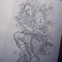Girl with flowers. Sketch by sashajoe