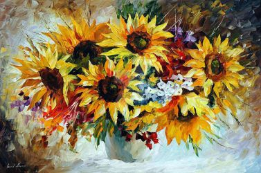 MORNING SUNFLOWERS by Leonid Afremov by Leonidafremov