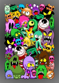 Monsters Doodles Spooky Characters Saga by Bluedarkat