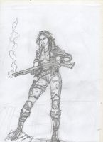 Post apocalyptic warrior sketch -2 by IMPOSI