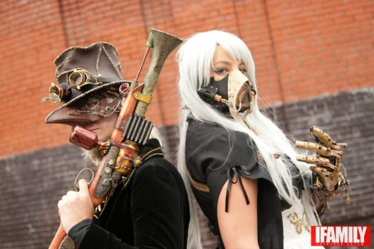 steampunk capitan and lady by skeep11