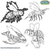 Bee mascot pencil designs by baby-marshmallow