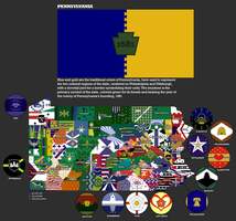 New Pennsylvania Flags, state flag and map by djinn327