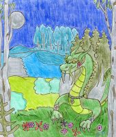 A winged serpent in the desolate garden... by XXI--XII
