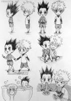Chibi Gon and Killua (gonkillu/killugon) by RavenDANIELS
