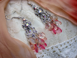 Padparadscha Droplet Chandelier Earrings (sold) by ArtLoDesigns