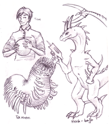 Animorphs pencil art - Tom, Taxxon, Hork-bajir by dsagoa