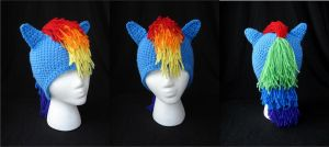 MLP Rainbow Dash Beanie with Ears and Mane by RebelATS