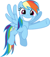 Rainbow Dash grinnig and pointing by Stabzor