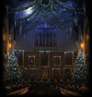 Pottermore Background: Great Hall at Christmas by xxtayce