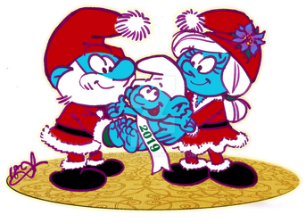Smurfy Christmas and New Year by acla13