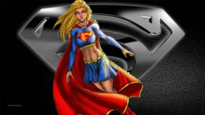 Supergirl - Black  White 2 by Curtdawg53
