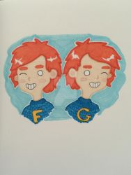 Fred and George Weasley Chibi by AlwaysTaylor
