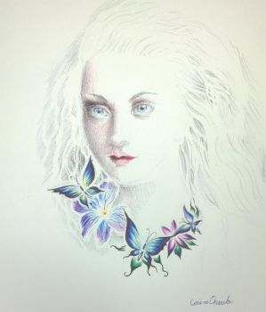 Girl with butterflies  and flowers by CORinAZONe