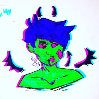 (OC- dave) playing w colors by Mewtres
