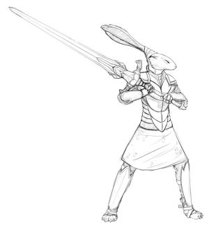Knight Hare - Free Sketch for Festus-Raw! by suncalf