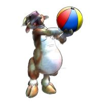 Cow plays with ball by TifaFinsterherz