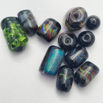 Black Rainbow Beads by ceredwyn