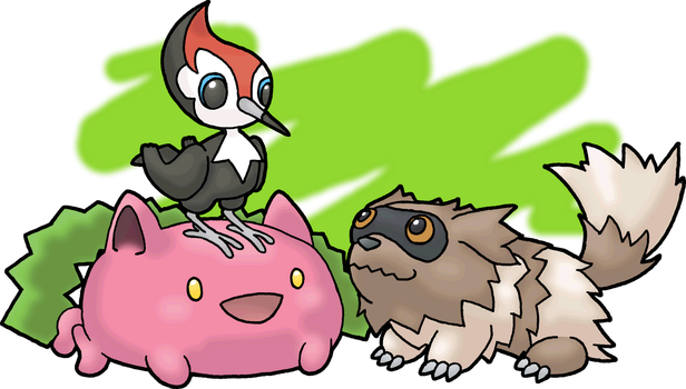 Pikipek, Zigzagoon, and Hoppip by Beholderr