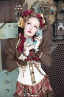[STOCK] Steampunk Circus Girl with telephone by AyraLeona
