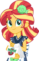 Sunset Shimmer with sushi by CloudyGlow