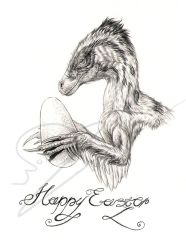 Utahraptor wishes you 'Happy Easter' by ArtOfNoxis