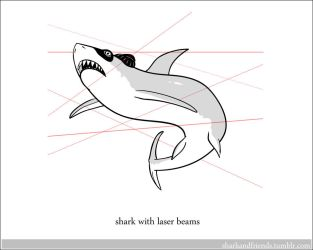 Shark with laser beams by Wenamun