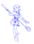 Sketch Wiga dancing with a rod. by anapeig