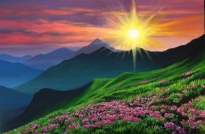 sunset, flowers and mountains by dofreal
