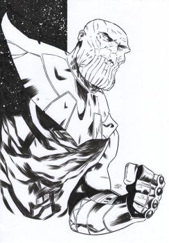 Thanos [Pencil and ink on paper - A4] by LudoDRodriguez