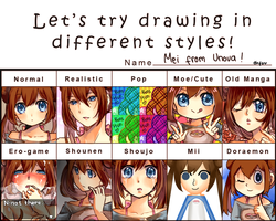 Let's try drawing in different styles meme ! by ebifuu