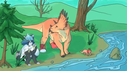 Visit to the Lake by Dinosaurolophus
