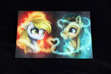Derpy and Doctor Whooves cutting board by Art-N-Prints