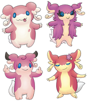 Audino Crossbreeds by ArchaosTeryx