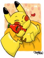 Pikachu and Ketchup by SolbiiMelody